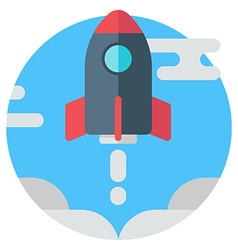 Rocket in the sky modern colored flat vector