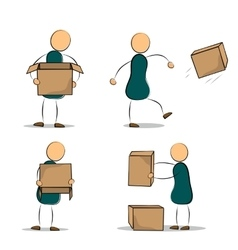 Set of funny cartoon office worker with boxes vector