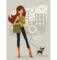 Beautiful woman with toy terrier vector image