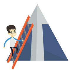 Business man climbing on mountain vector