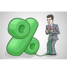 Businessman raises interest rates vector