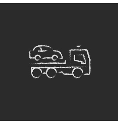Car towing truck icon drawn in chalk vector