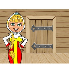 Cartoon girl in russian national dress talking on vector
