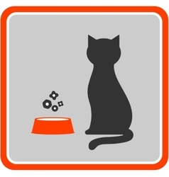cat silhouette and feed icon in frame vector image