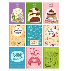 cooking recipe books cover kitchen design cards vector image