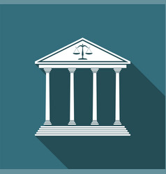courthouse icon isolated with long shadow vector image vector image