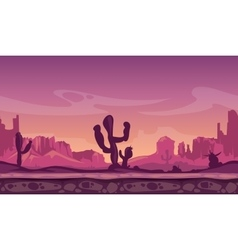 Desert wild cartoon landscape in sunset with vector image vector image