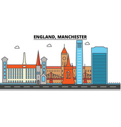 England manchester city skyline architecture vector