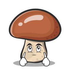Eye roll mushroom character cartoon vector