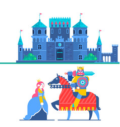 fairytale castle characters prince and knight vector image