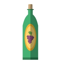Green wine bottle grape elegance drink bar shadow vector