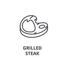 grilled steak line icon outline sign linear vector image vector image
