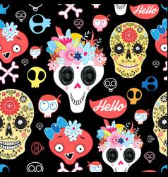 halloween pattern with decorative skulls vector image