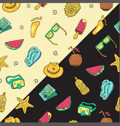 hand drawn seamless summer time theme pattern vector image vector image