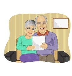 Happy senior couple reading letter together vector image
