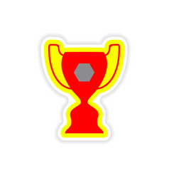 Paper sticker brazilian football cup on white vector