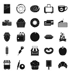 pastry icons set simple style vector image vector image