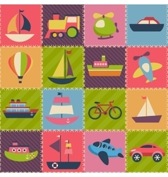 Patchwork background with transport vector image vector image