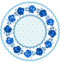 Russian traditional plate in gzhel style vector image