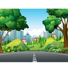 Scene with road to the city vector image