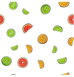 Seamless pattern of whole and cut limes oranges vector