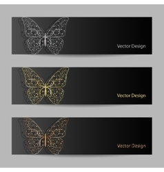 Set of horizontal banners with matal butterflies vector image vector image