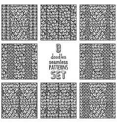 Set of various doodles cable stitch patterns vector