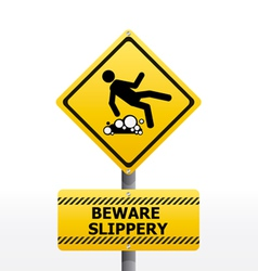 sign Beware slippery vector image