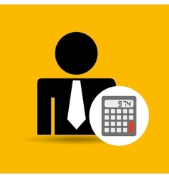 Man silhouette business and calculator design icon vector
