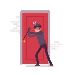 Thief breaking the door with a crowbar vector