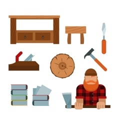 Lumberjack and woodworking tools icons vector