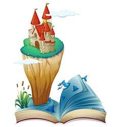 A book with an image of an island with a castle vector image