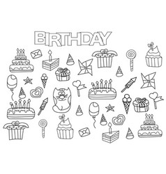Hand drawn birthday set coloring book page vector