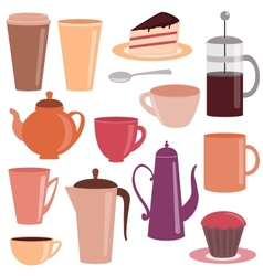 Collection of tea and coffee items vector