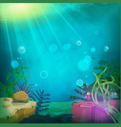 Funny submarine ocean landscape vector