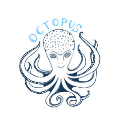 wild ocean octopus character with lettering for vector image