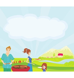 A of a family having a picnic in a park vector