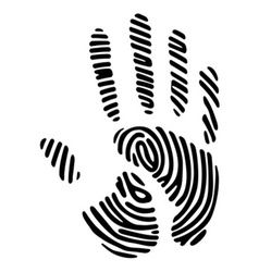 Handprint with fingerprint pattern vector