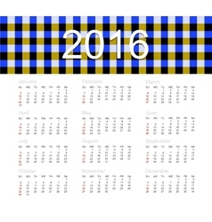 Calendar for 2016 year vector