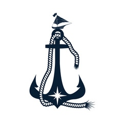 Anchor and boat design template vector