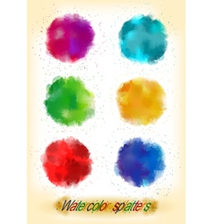 Colorful watercolor splatters vector image