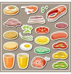 Set of grocery stickers vegetables snack drinks vector