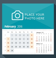 February 2016 desk calendar for 2016 year week vector