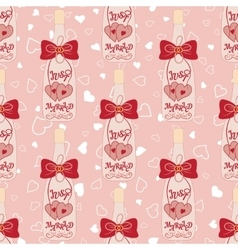 Wedding seamless pattern bottle of champagne with vector