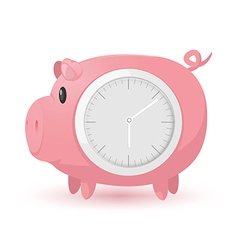 Pig pink clock symbol icon vector