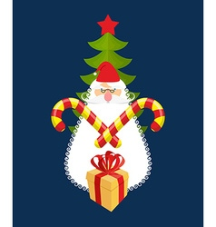 Emblem of christmas santa claus and gift mint vector