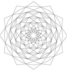 Adult coloring book page circular astral geometric vector