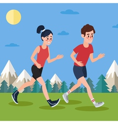 Man and woman running in the woods and mountains vector