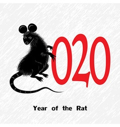 Rat mouse as symbol for year 2020 by Chinese vector image
