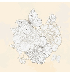 Hand drawn with peony and butterfly vector